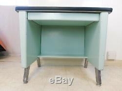 Vtg 1950s Mid Century Modern Aluminum Base Junior Tanker Desk Writing Top Drawer