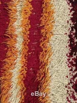 Vtg 1960's Rya Mid Century Danish Modern Abstract Pop Art Shag Carpet Rug Retro