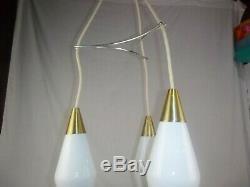 Vtg 1966 Mid Century Modern 3 Pendant Ceiling Light Fixture Starlight M-1440