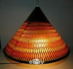 Vtg 1968 Honeycomb MOE Light Pendant Hanging Chandelier UFO Mid Century Modern