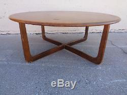 Vtg Adrian Pearsall Style Sculpted X Base Round Wood Coffee Table Mid Century
