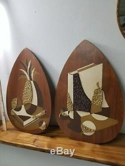 Vtg BELART Mid Century MoD Teak ART Hanging Eames Plaque Wall