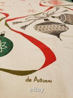 Vtg. Christmas Mid Century Shiny Brite Ornaments Tablecloth Lois Long De Antonio