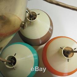 Vtg Heifetz Rotaflex 3 Pendant Light Fixture Mid Century Multi Color