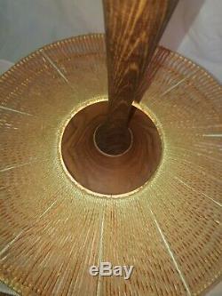 Vtg Jute Pendant Ceiling Lamp Light Fog Morup Danish MID Century Modern Plug In