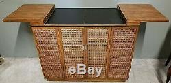 Vtg MCM STANLEY Campaign Art Deco Rolling Dry Bar Buffet Cart Mid Century Modern