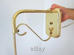 Vtg MOE 60s Mid Century Danish Modern Elongated Pendant Brass Arm Sconce Light