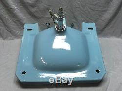 Vtg Mid Century Blue Porcelain Ceramic Bathroom Sink Standard Shelf Back 364-18E