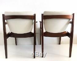 Vtg Mid Century Danish Modern Lounge Arm Chair Teak Wood White Vinyl Thonet