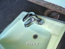 Vtg Mid Century Deco Pale Jadeite Green Bathroom Set Old Tub Sink Toilet 438-20E