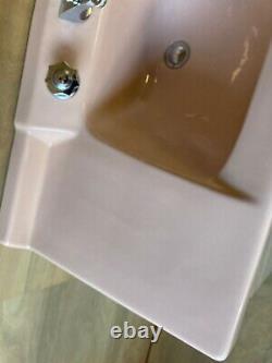 Vtg Mid Century Jadeite Ceramic Pink Porcelain Vanity Bath Sink Retro 648-20E