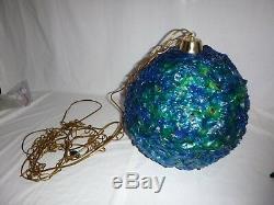 Vtg Mid Century Mod Lucite Ribbon Spaghetti Round Swag Lamp Light Blue Green