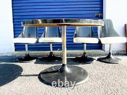 Vtg Mid Century Modern 5-Pc Smoked Acrylic Space Age Dining Table Chairs Set