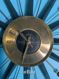 Vtg. Mid Century Modern Atomic Welby Starburst Clock