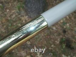 Vtg Mid Century Modern Brass & 3 Fiberglass Cone Lights Tension Pole Floor Lamp