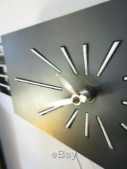 Vtg Mid Century Modern Burwood Products Wall Clock Black & Silver Mondrian 27.5