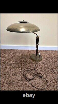 Vtg Mid Century Modern Dazor GE Adjustable Brass Desk Lamp Atomic Saucer