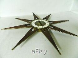Vtg Mid Century Modern Elgin Atomic Starburst Teak-Metal Wall Clock Working