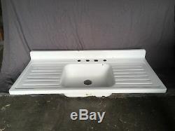 Vtg Mid Century White Porcelain Single Basin Double Drainboard Farm Sink 432-18E