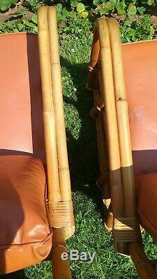 Vtg Pair 2 Mid Century Rattan Bamboo Lounge Chairs w Orange Cushions Ficks Reed