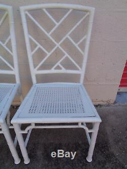 Vtg Set 4 Meadowcraft Aluminum Faux Bamboo Chinese Chippendale Fretwork ChairsTT