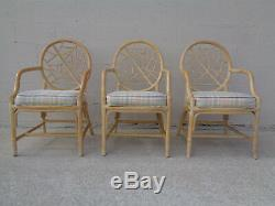 Vtg Set 6 TLC Need Repair McGuire Style Rattan Cracked Ice Rawhide Laced Chairs