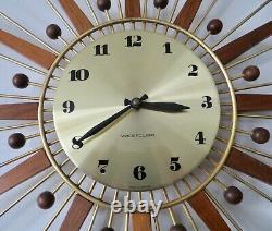 Vtg. Westclox Starburst Sunburst MID Century Modern Atomic Wall Clock