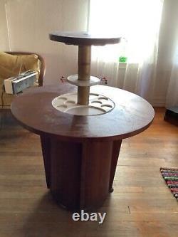 Vtg mid century modern retro pop up wood bar cocktail surprise table Art Deco