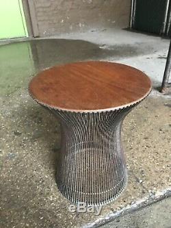 Warren Platner For Knoll Walnut Top Side Table As Is Mid Century Vintage