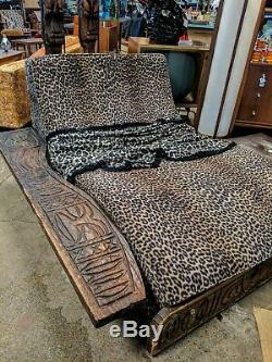 Witco Jungle Room Tiki and Mid-Century living room set, sofa chaise tables lamps